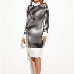 NEW Houndstooth Fitted Midi Shirt Dress